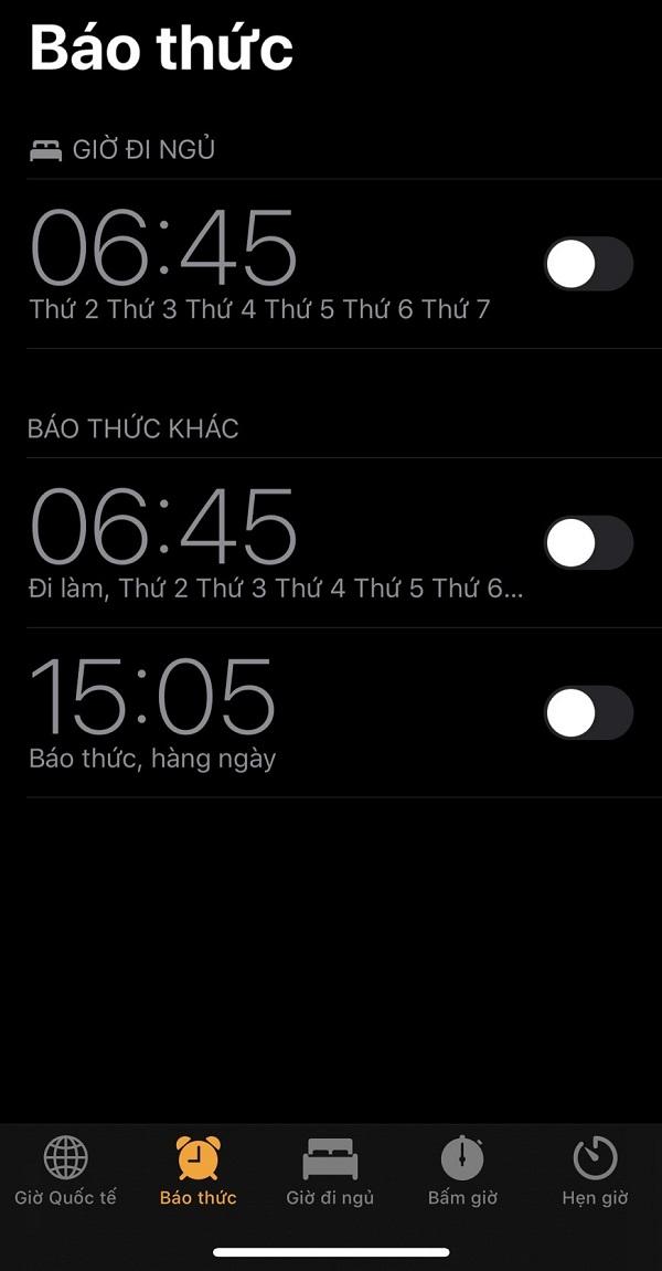 cai bao thuc tren iphone x
