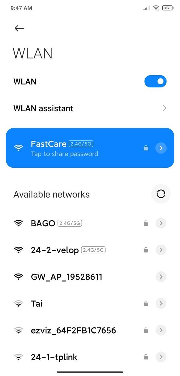 chon wifi ma ban can xem mat khau